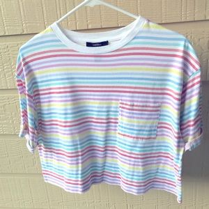 Pastel color striped cropped t-shirt